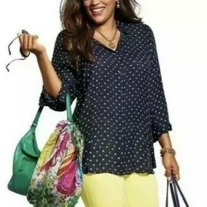 CAbi Blue and Green Dot Martini Top Style 5019